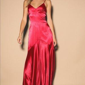 Lulu's satin sleeveless maxi dress